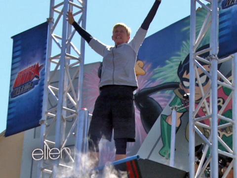"""Ellen DeGeneres Takes On """"American Ninja Warrior"""" Course"""