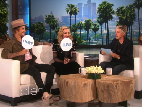 "Justin Bieber and Madonna Play ""Never Have I Ever"" With Ellen!"