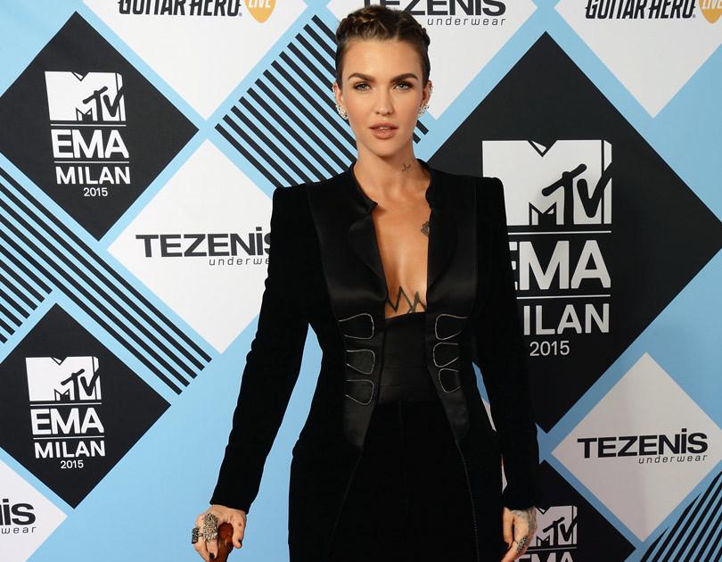 Ruby Rose Rocks Cane & Sky High Heels At 2015 MTV EMAs