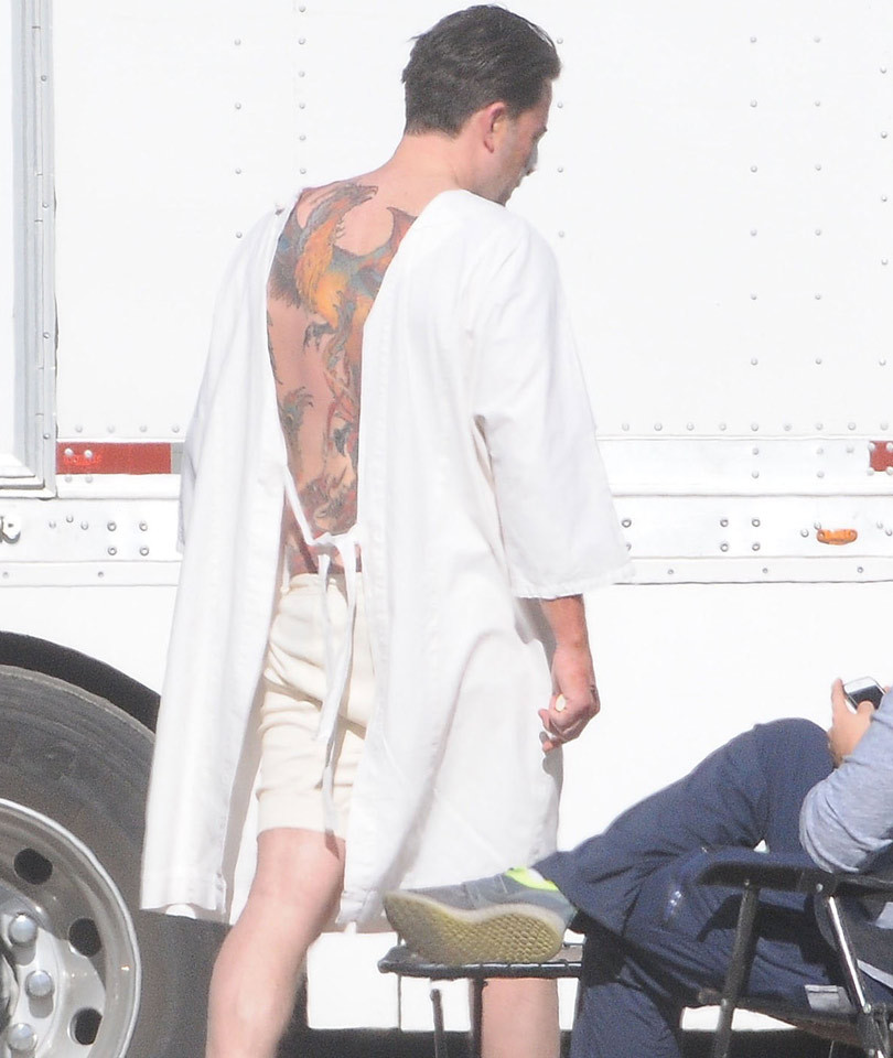 Ben Affleck Reveals Massive Back Tattoo, Spotted Holding ...