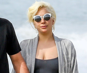 Lady Gaga & Fiance Taylor Kinney Share Some Beach PDA Following Her Golden…