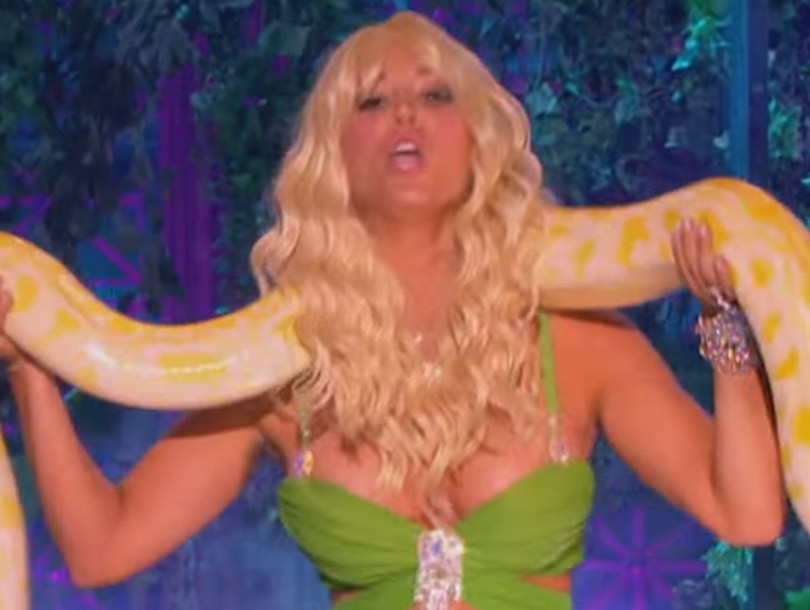 "Kaley Cuoco Does Her Best Britney Spears Impression for ""I'm A Slave 4 U"" on…"