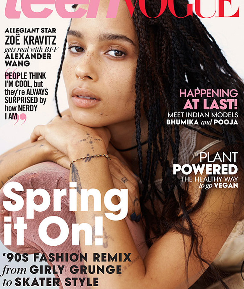 Zoe Kravitz Sports Minimal Makeup for Teen Vogue, Opens Up About Growing Up in…