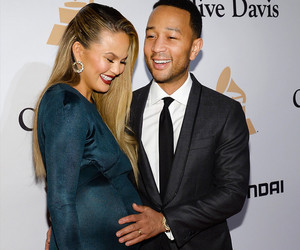 Pregnant Chrissy Teigen Is Glowing In Green at Pre-Grammy Bash with John Legend