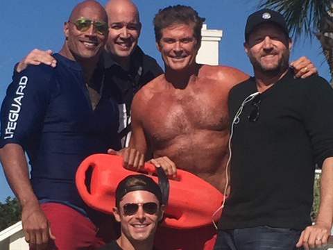 """Mitch Is Back! The Hoff Spotted on """"Baywatch"""" Set with Zac Efron & The Rock"""