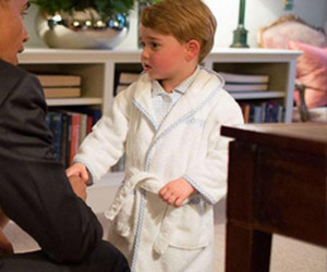 Seeing Prince George Meet President Obama In His Pajamas Will Make Your Day