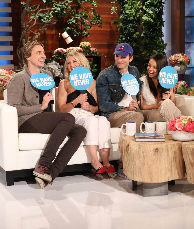 """Mila Kunis, Ashton Kutcher, Kristen Bell & Dax Shepard Play """"Never Have We Ever"""" -- Who's Waxed Each Other's Body Parts?!"""