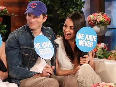 """Mila Kunis, Ashton Kutcher, Kristen Bell & Dax Shepard Play """"Never Have We Ever"""" --…"""