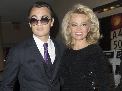 Pamela Anderson Steps Out In NYC with Son Brandon -- He's a Tommy Lee Look-Alike!