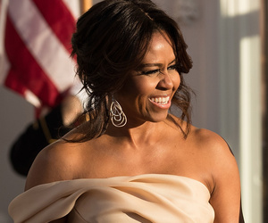 Michelle Obama Looks Beautiful in Blush at the Nordic State Dinner