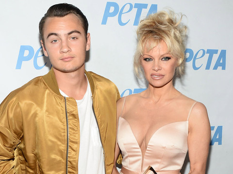 Pamela Anderson Walks Red Carpet with Son Brandon at Prince's PETA Song Launch