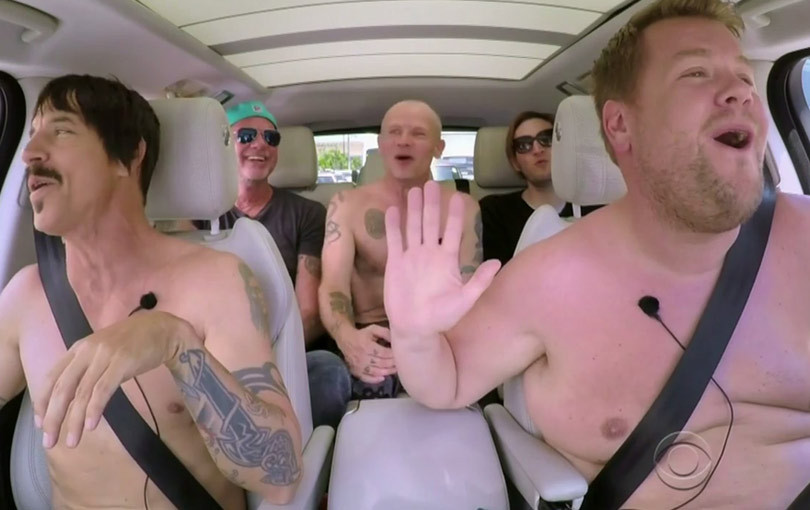 """James Corden & Red Hot Chili Peppers Go Shirtless For """"Carpool Karaoke"""" -- They Said WHAT About Cher?!"""