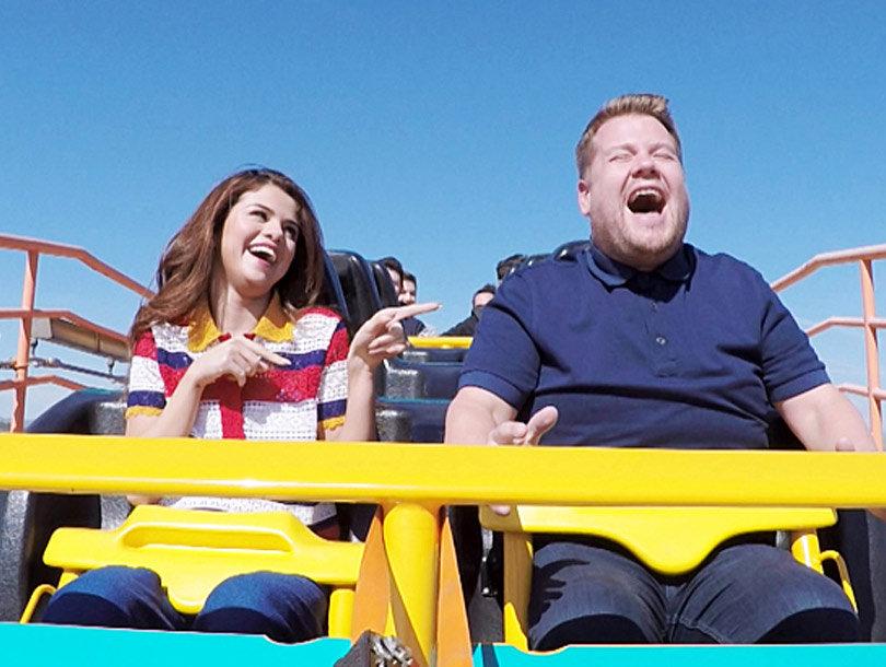 "Selena Gomez & James Corden Ride Roller Coaster on ""Carpool Karaoke"" -- As He Calls Taylor Swift's Squad ""Sexist"""