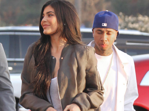 "Back On?! Kylie Jenner & Tyga Spotted Together at Kanye West's ""Famous"" Video Premiere"