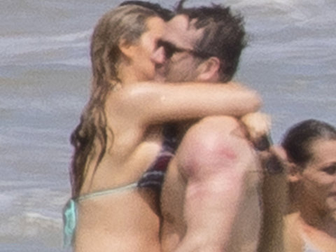 Pregnant Blake Lively & Ryan Reynolds Share PDA at Taylor Swift's Beach Bash