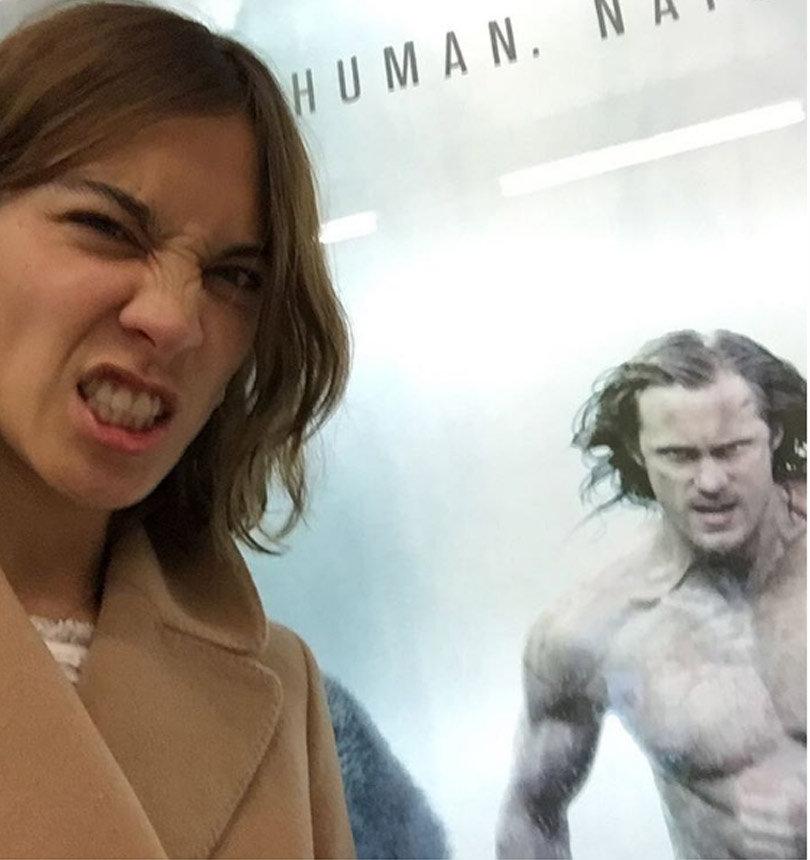"Alexa Chung Mocks Boyfriend Alexander Skarsgard's Intense ""Tarzan"" Diet"