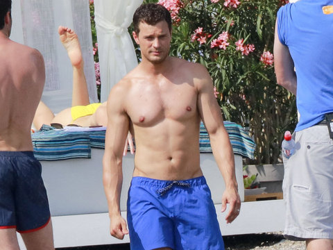 """Fifty Shades"" Stars Flaunt Hot Bods on the Beach"