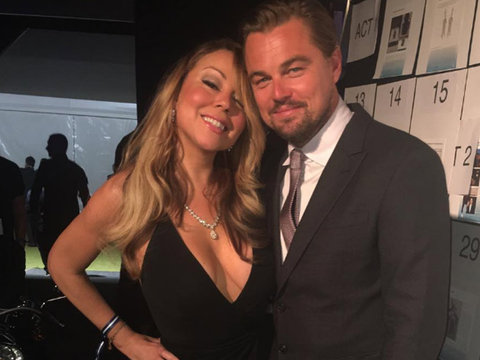 Mariah Carey Stuns In Plunging Dress at Leonardo DiCaprio's Fundraiser
