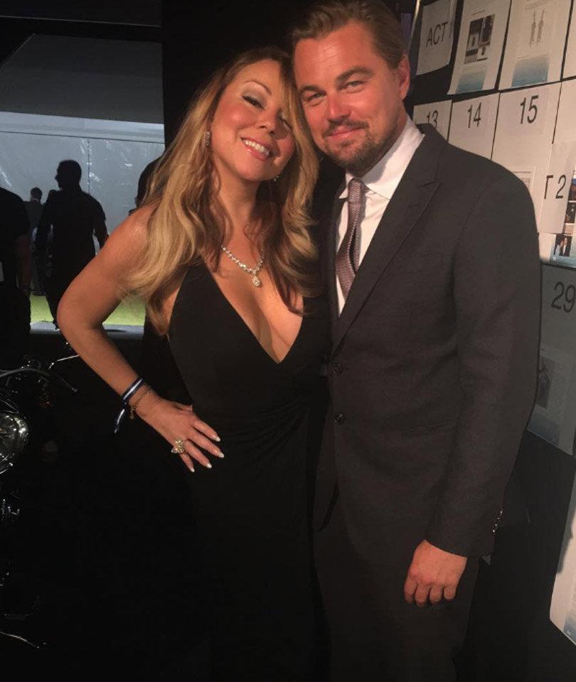 Mariah Carey Stuns In Plunging Dress at Leonardo DiCaprio's Fundraiser
