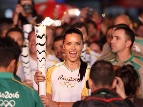 Adriana Lima Gets Emotional Carrying the Olympic Torch In Brazil