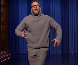 "Seth Rogen Slays Drake's ""Hotline Bling"" in Lip Sync Battle With Fallon"