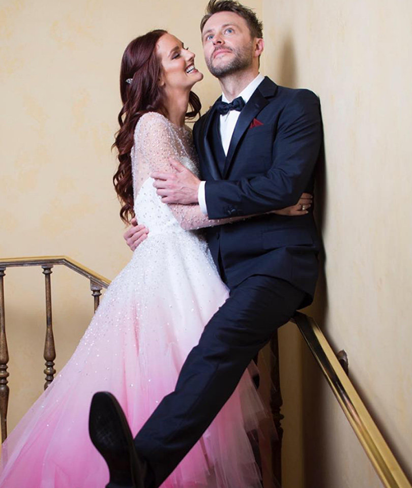 Chris Hardwick and Lydia Hearst Are Married -- See Her Pink Gown!