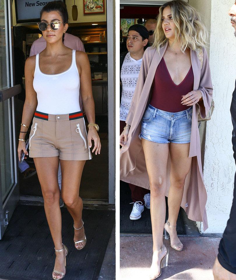 03375f9eed1e Khloe & Kourtney Kardashian Flaunt Their Figures In Booty Shorts In Miami