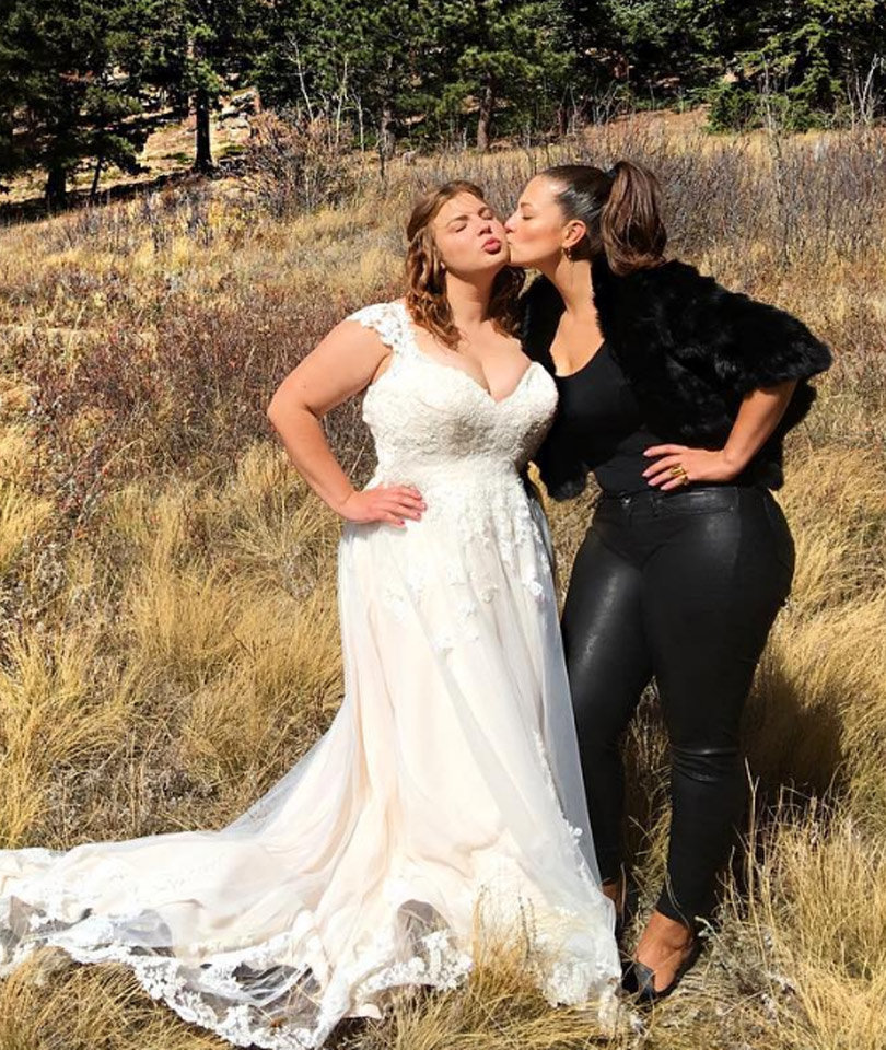 c820a3aaf Ashley Graham Wears Leather on Her Sister s Wedding Day --