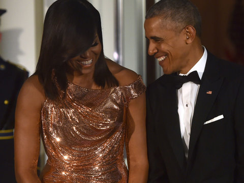 Michelle Obama Stuns In Gold Versace Gown at Last State Dinner as FLOTUS