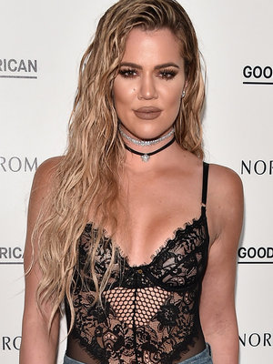 Khloe Rocks Wet Hair, Lingerie at Good American Denim Launch