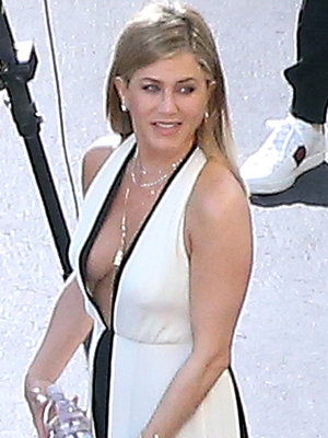 Jennifer Aniston Flaunts Cleavage in Daringly Low-Cut Dress