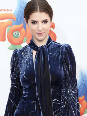 "Anna Kendrick Goes '90s With Crimped Hair, Velvet Mini At ""Trolls"" Premiere"