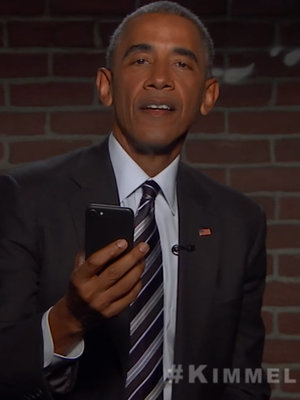 "President Obama Bashes Donald Trump During ""Mean Tweets"" on ""Kimmel"""