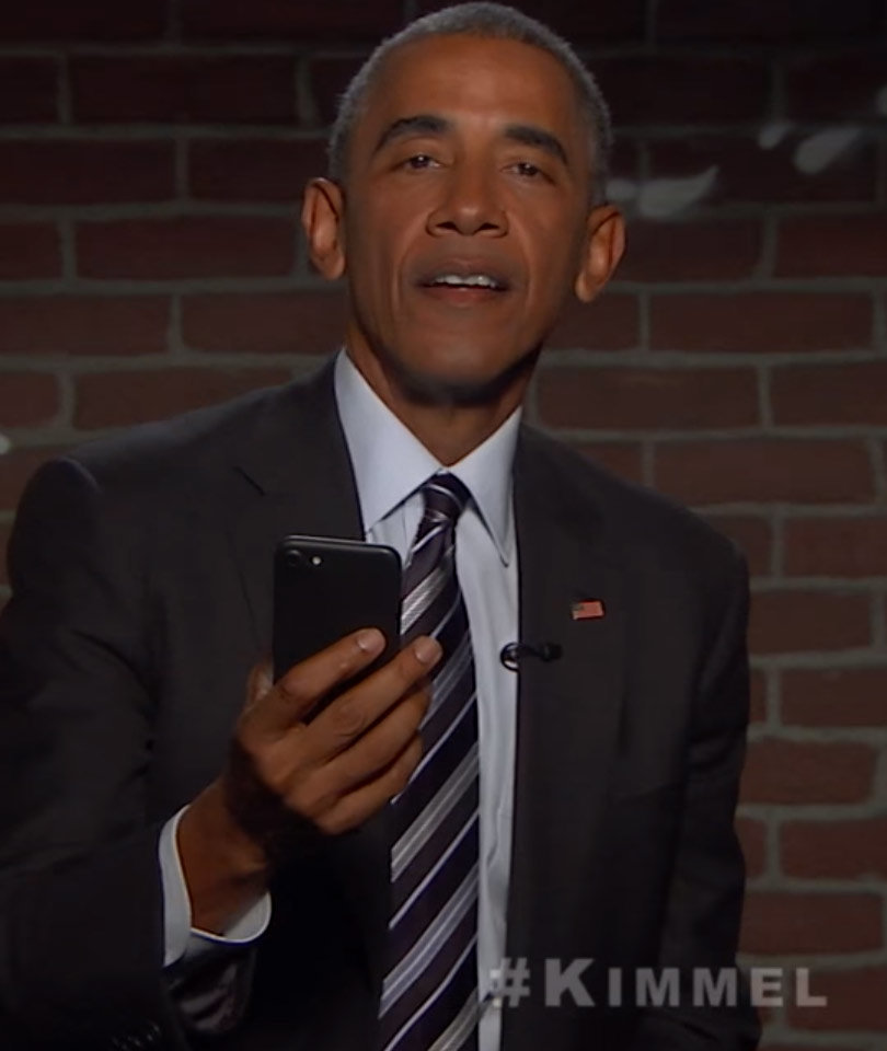 """President Obama Bashes Donald Trump During """"Mean Tweets"""" on """"Kimmel"""""""