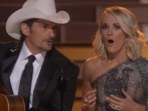 Carrie Underwood & Brad Paisley Open CMA Awards Mocking Trump & Hillary