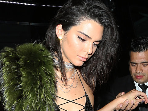 Kylie Flashes Serious Cleavage at Kendall's B-Day Bash