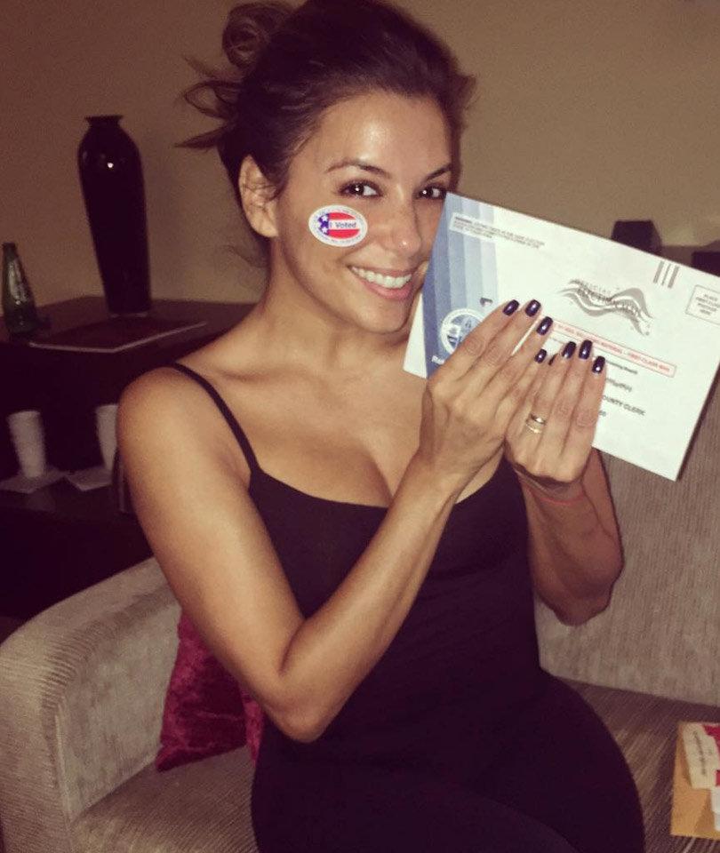 Eva Votes, J.Lo Strips & More of This Week's Best Selfies!
