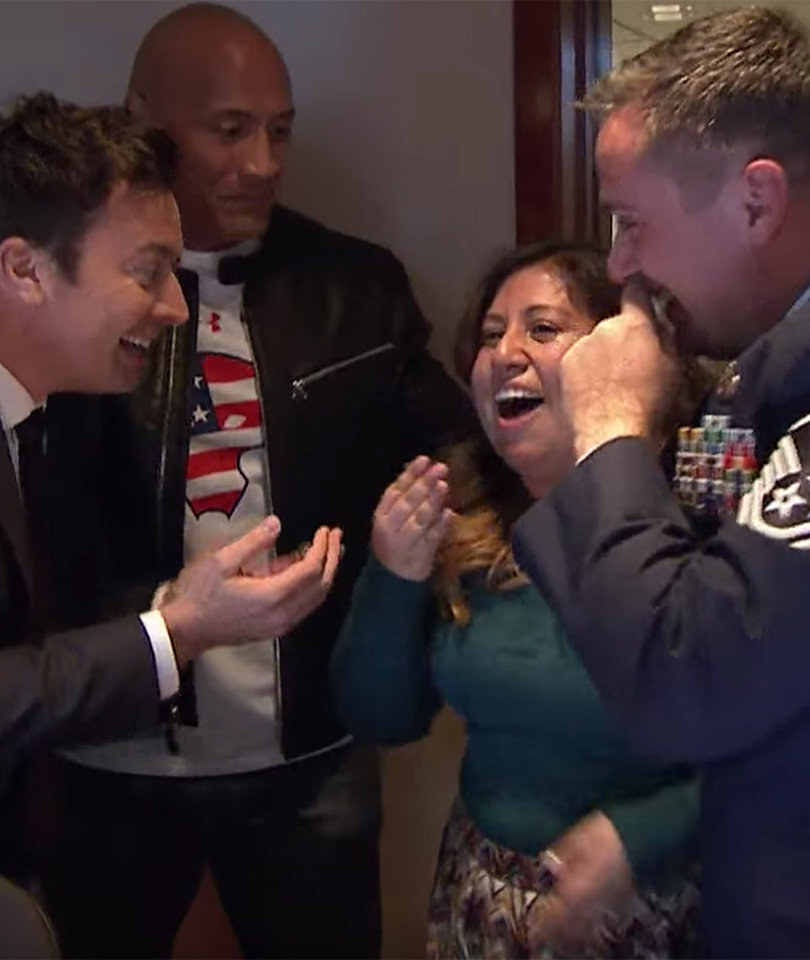 Jimmy Fallon and Dwayne Johnson Pull Off Tearful Military Holiday Surprise