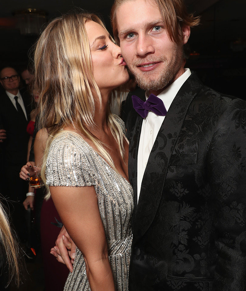 Kaley Cuoco Packs on the PDA with Karl Cook at Golden Globe After-Party (Photos)