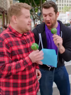 James Corden Swaps 'Carpool Karaoke' for Billy Eichner's 'Curbside Conga Line' (Video)