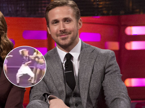 See Mortified Ryan Gosling Watch Embarrassing Dance Video From His Childhood (Video)