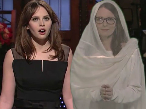 See Felicity Jones Get Advice From Princess Tina Fey During 'SNL' Monologue (Video)