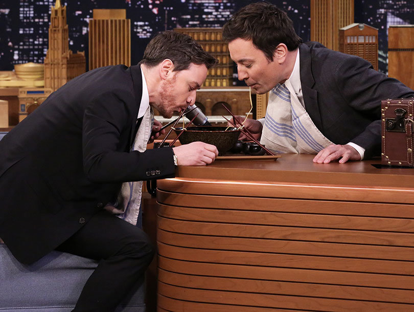 Jimmy Fallon and James McAvoy's Ramen Challenge Ends In Super Mario Dance Party (Video)