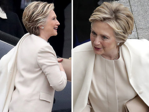 Hillary Clinton Wears Go-To Designer Ralph Lauren for Trump Inauguration (Photos)