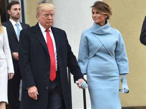 Melania Trump Channels Jackie O In Sky Blue Ralph Lauren Inauguration Ensemble (Photos)