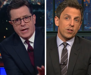 Stephen Colbert, Seth Meyers Mock Donald Trump's Media Criticism, 'Bowling…