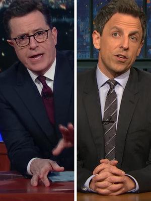 Stephen Colbert, Seth Meyers Mock Donald Trump's Media Criticism, 'Bowling Green Massacre' (Video)