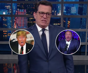 Stephen Colbert Blasts Trump for Cozying Up to InfoWars 'Jerk' Alex Jones…