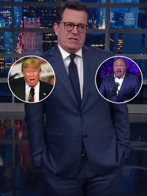 Stephen Colbert Blasts Trump for Cozying Up to InfoWars 'Jerk' Alex Jones (Video)