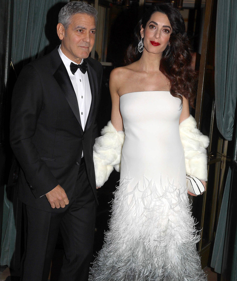 Amal Clooney Debuts Her Baby Bump on Glam Night Out with George (Photos)